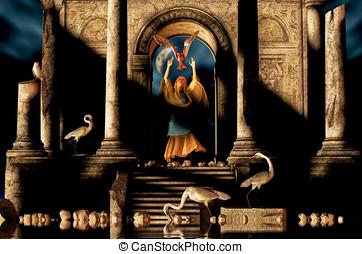 Magic Woman Ancient Ruins
