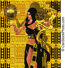 Magic woman with gold snake - A fantasy art image of a magic...