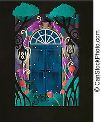 Magic wooden door in fairy forest. Two retro styled doors surrounded by trees, lamps and flowers. Book cover, motivation poster  or greeting card template