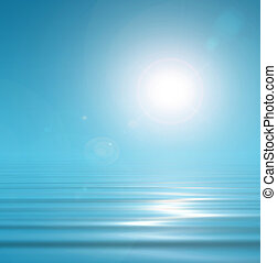 Magical blue background sky and peacefull water - Blue...