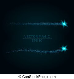 Magical blue stripes of bright and small particles on a dark background. Shining stars in motion. Pattern of highlights. A flying comet. Vector illustration. Bright flashes