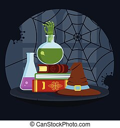 Magical books, poisonous potion and bewitched hat in house...
