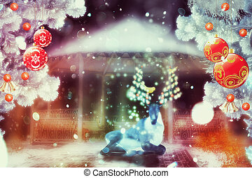 Magical Christmas Deer - Fantasy Christmas background with...