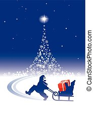 Magical Christmas tree with children - Small girl pulling a ...