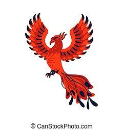 Magical creatures set. Mythological bird - phoenix. Flat style vector illustration isolated on white background.