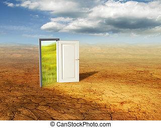 Magical door - An open door revealing a different dimension....