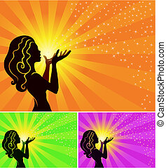 a fairy girl makes a wish and blows the stardust, vector illustration