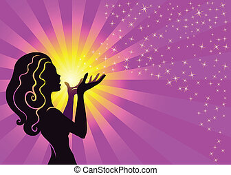 Magical Fairy Girl Blows Stardust - Illustration of a fairy ...