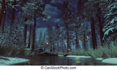 Magical fairy lights in snowy winter forest at dusk