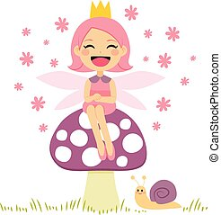 Magical Fairy Sitting On Mushroom - Cute little pink fairy...
