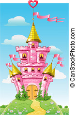 magical fairytale pink castle with flags on fairytale summer...