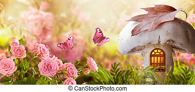 Magical fantasy elf or gnome mushroom house with window and flying butterflies in enchanted fairy tale garden, fabulous fairytale blooming pink rose flower field