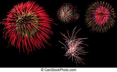 Magical fireworks on black background