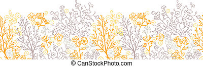 Magical floral horizontal seamless pattern background