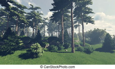 Magical forest edge - Beautiful woodland scenery. Realistic...