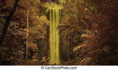 Magical forest with waterfall