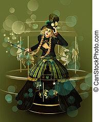 Magical Funfair - a young girl at a funfair