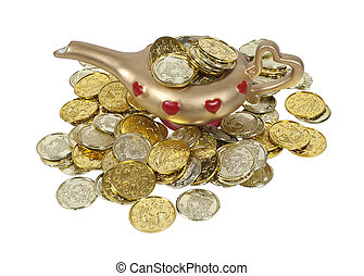 Magical Lamp Full of Gold Coins - Gold and red genie lamp...