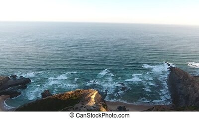 Magical landscape shores of the Atlantic Ocean. View from the sky. Aerial. Sagres costa Vicentina.