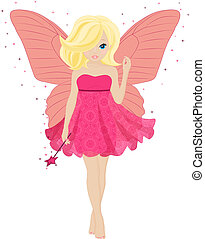 magical little fairy in a pink dress with a magic wand