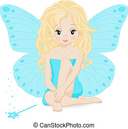 magical little fairy in a blue dress with a magic wand