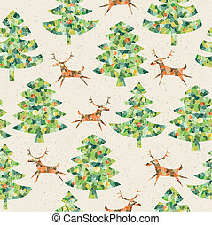 Christmas Trees Forest with Reindeer seamless pattern -...