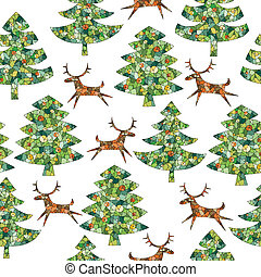 Magical Mosaic Christmas Trees Forest with Reindeer seamless...