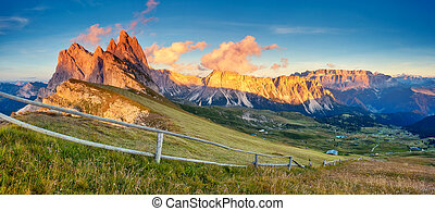 magical mountain landscape - View on the Odle - Geisler...