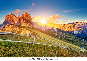 magical mountain landscape - View on the Odle - Geisler ...