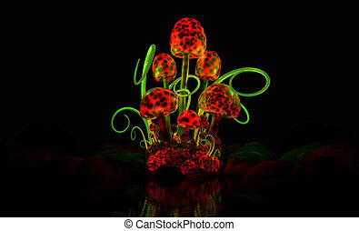 quality 3d illustration of a magical mushroom cluster