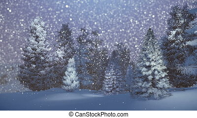 Dreamlike winter scenery. Snow-covered spruce forest at snowfall night. Background is out of focus. Decorative 3D animation.
