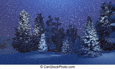Magical night in a snowy spruce forest - Dreamlike winter...