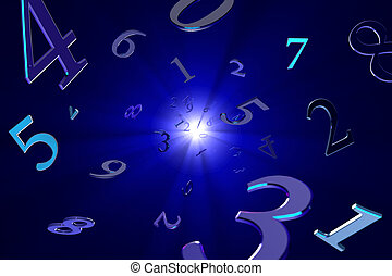 Magical numbers (numerology). - A lot of numbers on a ...