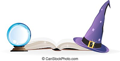 Magical objects - Witch hat, spell book and a magic ball on...