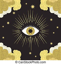 magical occult design, illustration in vector format