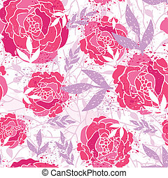 Magical painted roses seamless pattern background - Vector...