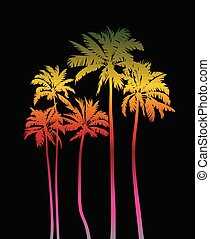 Magical palms trees at night