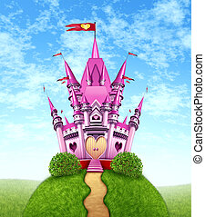 Magical Pink Castle - Magical pink castle as a fantasy...