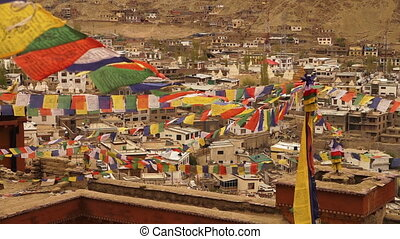 Magical prayer flags of Leh town, Ladakh. - High angle...
