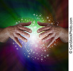 Magical Rainbow Sparkles - Male hands emerging from...