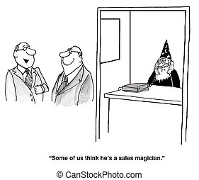 Magical Salesman - Business cartoon about an outstanding...