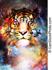 magical space tiger, multicolor computer graphic collage. - ...