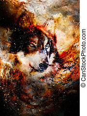 magical space wolf, multicolor computer graphic collage. - ...
