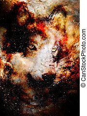 magical space wolf, multicolor computer graphic collage. ...