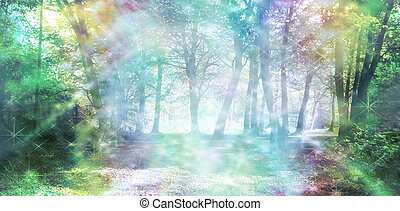 Rainbow colored woodland scene with streams of sparkling light