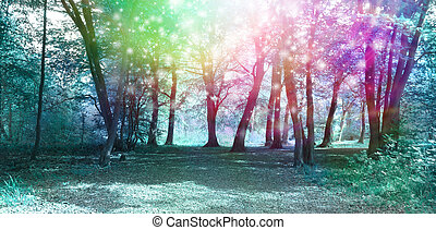 Magical Spiritual Woodland - Jade blue colored woodland...