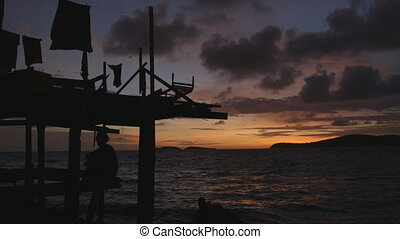 Magical sunset view at Moresby Village, Papua