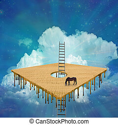 Horse in hovering square field - Magical Surreal Scene. ...