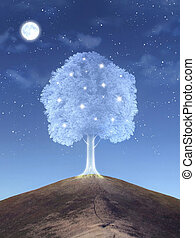 Magical tree - Illustration of shining magical tree on the...