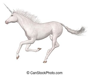Magical unicorn galloping against a white background, 3d digitally rendered illustration